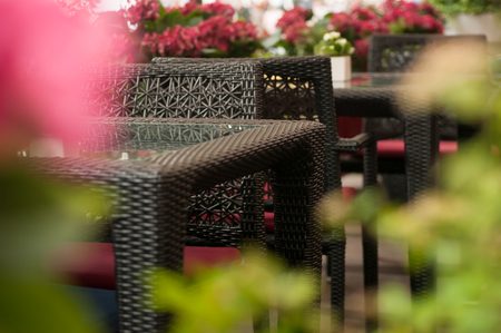 table in the restaurant in the open air