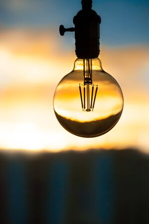 Edison bulb in the background of the window Stock Photo