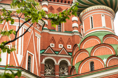 St. Basils Cathedral details in Moscow Red Square close-up