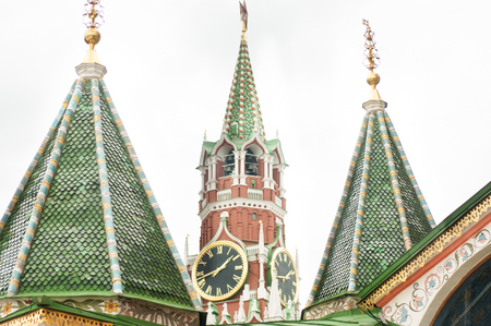 Kremlin Clock on the Tower in Moscow, Red Square close-up
