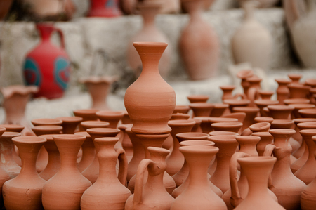 Clay pots in the market on the street of Cappadocia, Turkey