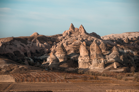 View of the unique landscape of Cappadocia, Turkey with balloon 写真素材