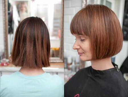 Haircut bob on bright mahogany hair of a young woman