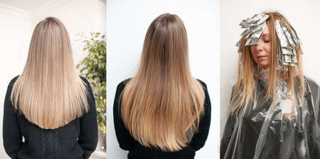 Blonde hair transformation process before and after highlighting hair, three photos in one on a white background in a beauty salon