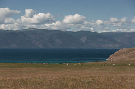 Beautiful view from the shore to Lake Baikal in Siberia, Olkhon Island Russia in summer on a clear day 版權商用圖片