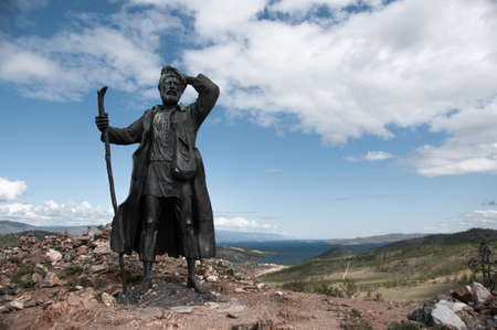 Monument to a vagabond on the shore of Lake Baikal on the way to Olkhon in summer on a sunny day. The author of the sketch is the sculptor Tsydenzhap Tsyzhipov