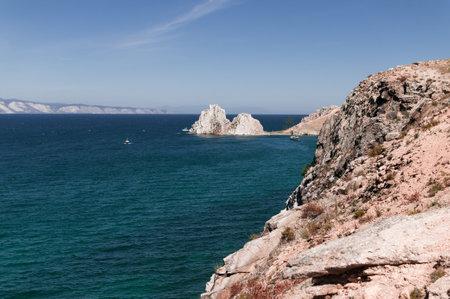 Cape Burkhan or Shamanka Rock in Russia, Olkhon island on Lake Baikal in summer in clear weather 版權商用圖片
