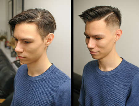 Young man with modern short haircut in beauty salon,before and after