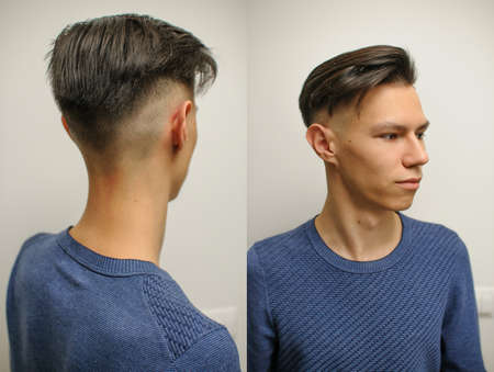 Young man with modern short haircut in a beauty salon, two photos from different angles