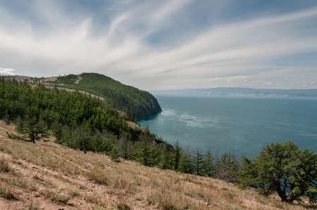Coastline of Lake Baikal Cape Khoboy Olkhon island in Siberia Russia summer day Reklamní fotografie