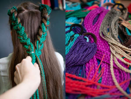 Hair accessory colored braids on a teenage girl with long dark hair, back view and a group of accessories colored braids on an elastic hair band on the table, 2 photos in one Reklamní fotografie