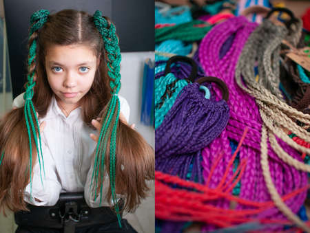 Hair accessory colored braids on a teenage girl with long dark hair, close-up portrait and a group of accessories colored braids on an elastic hair band on the table, 2 photos in one