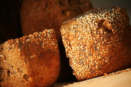 Crispy home-baked bread with sesame and poppy seeds photo