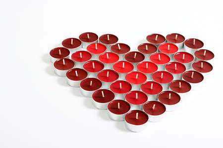 felicitation: Valentine Heart made of red candles