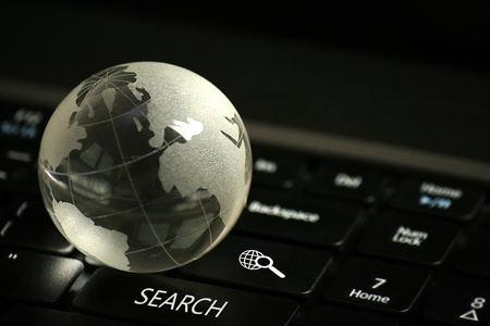 Laptop keyboard with web search buttons, selective focus Stock Photo