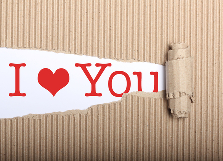 I love you text on white paper with copy space and torn cardbox Stock Photo