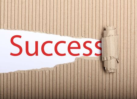 Success text on white paper with copy space and torn cardbox Archivio Fotografico