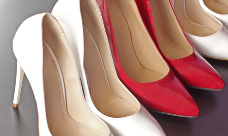 Red and white shoes in boutique