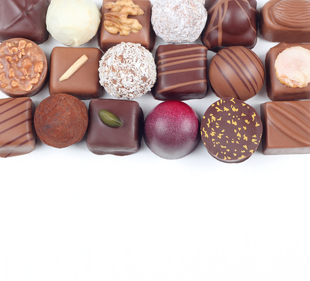Assortment of sweet confectionery with chocolate candies and pralines Archivio Fotografico