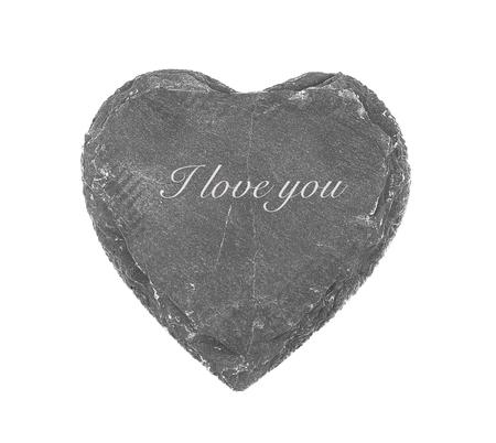 Stone heart on white background