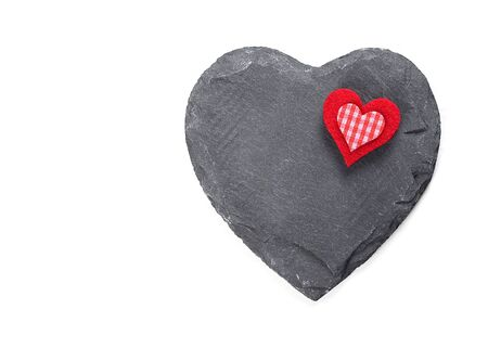 Stone heart on white background