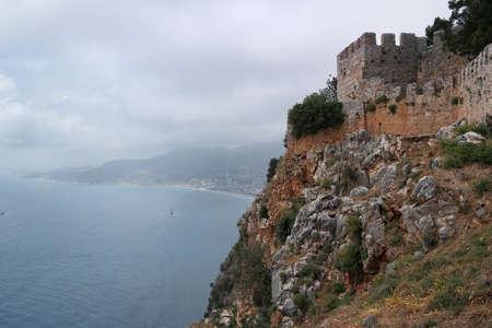 alanya: Fortress Alanya, Turkey, beach, sea Mediterranean Stock Photo