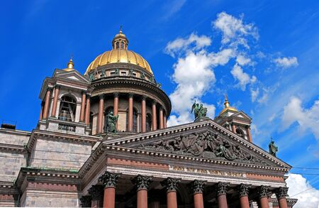 pediment: St. Petersburg, St. Isaacs Cathedral, close-up dome and pediment Stock Photo
