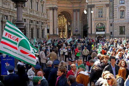 scala: MILAN, ITALY, Piazza della Scala, 21 April 2012. Meeting of Italian Trade Unions Lombardy. Speaker - Giga Petteni