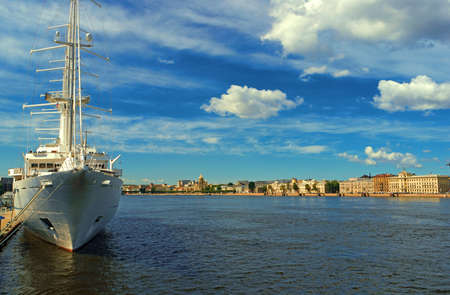 embankment: expanse of the river Malaya Neva in St. Petersburg with the ship in the foreground