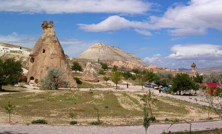 pidgeon: Cappadocia, Turkey - April 29, 2014: The Valley of the stone pillars. Tourist Centre.