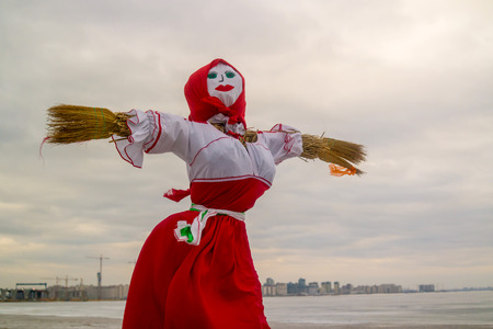 maslenitsa: Doll for burning on holiday Maslenitsa. Maslenitsa - Russian traditional celebration held in the spring. Stock Photo