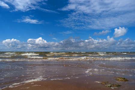 recently: Clouds over the Gulf of Narva-Joesuu, Estonia. Recently, a shower of rain. Stock Photo