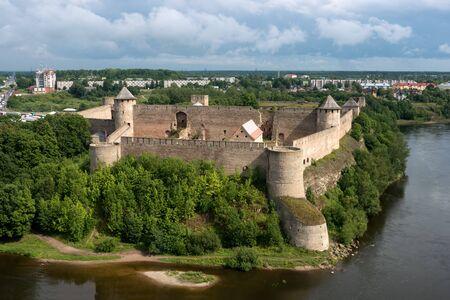 xv century: ancient Ivangorod fortress - XV century - at the border of Russia and Estonia