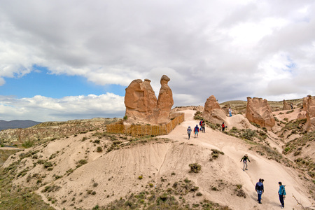 geological formation: A geological formation Camel consisting of volcanic tuff.  Tourists sightseeing. Editorial