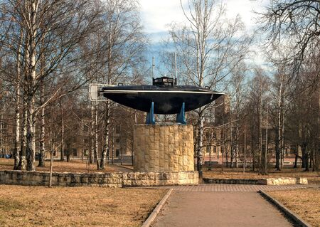 displacement: Gatchina. Monument of the first Russian submarine. Submarine was built in 1879 and tested in 1881 at Silver Lake in front of the Gatchina Palace in the presence of Emperor Alexander III.