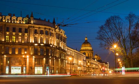 isaac s: View of St. Petersburg.  Saint Isaacs Cathedral  from Palace Square in night. Admiralty prospect. Editorial