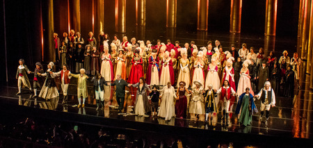 Saint-Petersburg, Russia - September 25, 2015: Mariinsky Theatre, Tchaikovsky Opera -Pikovaya dama-, artists access to the bow at the end of the play. Among the artists Maestro Gergiev. Spectators welcome artists.