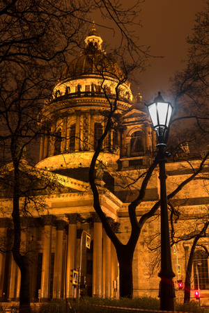 isaac: St Isaac Cathedral in Petersburg. Night Photography.  Close-up Stock Photo