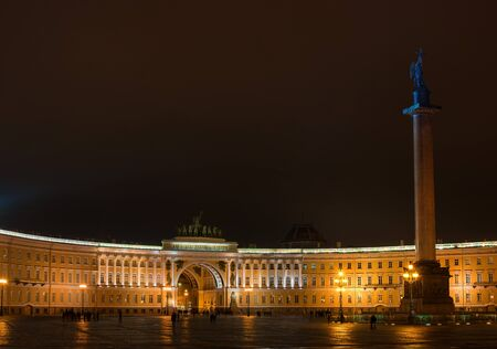 quadriga: St. Petersburg. The General Staff building photographed at night.  Dual arch is topped with a Roman quadriga. In the Winter Palace and the Arch of the General Staff is the Alexander Column.