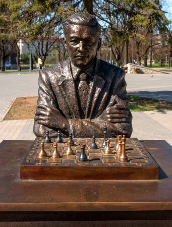 chess player: Narva, Estonia - May 4, 2016: monument to the famous Estonian chess player Paul Keres. Installed near Peters Square. Close-up.