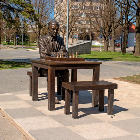 chess player: Narva, Estonia - May 4, 2016: monument to the famous Estonian chess player Paul Keres. Installed near Peters Square. Overall plan. Editorial
