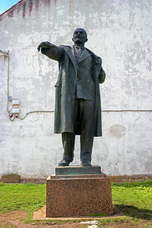 earlier: Narva, Estonia - May 4, 2016: The monument to Vladimir Lenin, the leader of the revolution. Earlier it stood at Peters Square. Now located in the territory of Narva Castle. Estonia.