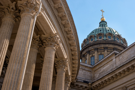 kazanskiy: Kazan Cathedral -Cathedral of the Kazan Icon of the Mother of God-. Saint Petersburg, Russia. The dome and colonnade. Stock Photo