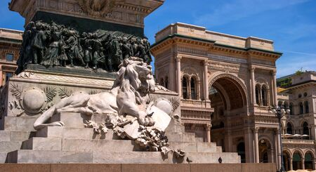 turistic: Milan, Italy - May 25, 2016: View of Vittorio Emanuele II monument. The statue was cast in 1896 by sculptor E.Roza. Close-up of a pedestal.