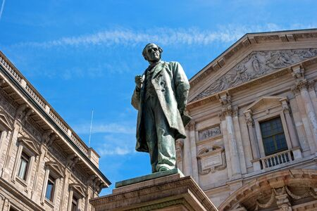 novelist: Milan, Italy - May 25, 2016: Statue of Alessandro Manzoni -1785-1873- Italian poet and novelist in Milan. Sculptor Francesco Barzago.