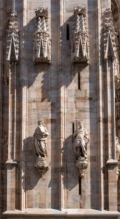 coral bell: The sculptures on the facade of the Duomo. Milan, Italy.2