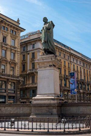 satirist: Milan, Italy - May 25, 2016: Giuseppe Parini statue in Milan Dante street. Giuseppe Parini - Italian poet, representative of the Italian Enlightenment classicism.