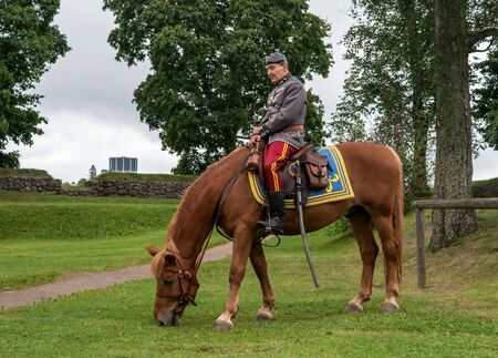 eating area: Lappeenranta, Finland - 29 July 2016. Horse riders in historical Finnish army uniform in the Lappeenranta harbor area. horse eating grass.