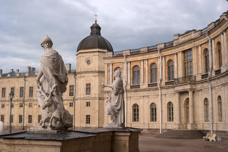 vigilance: Gatchina Palace. Sculptures at the main entrance and a lookout tower. Allegory - prudence. Allegory - vigilance. The sculptor Johann Morleyter.