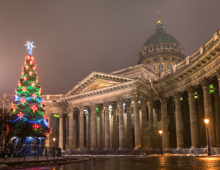 Christmas tree at the Kazan Cathedral in St. Petersburg. Russia. Christmas tree decorated with multicolored lights.